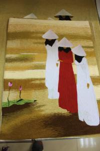 Women in Ao Dai- Village Scene