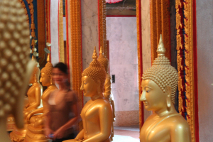 Solitude in meditation in a temple